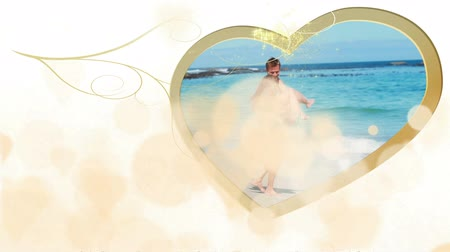 heart shaped : Montage of couples in love on gold and cream heart background with heart shaped screens