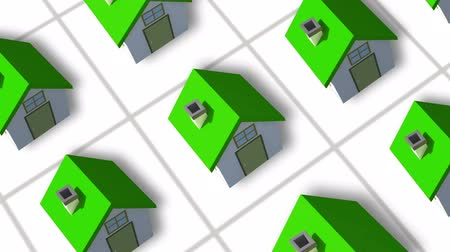 properties : Building up a housing estate animation with green houses Stock Footage