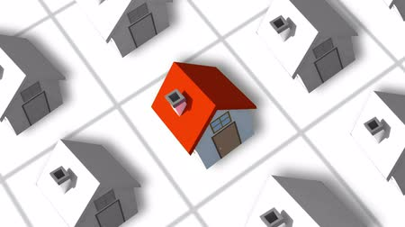 real : Housing estate forming animation with one red house Stock Footage