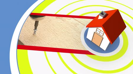 kutilství : Montage of people redecorating their homes on spiral background with 3d house graphic Dostupné videozáznamy
