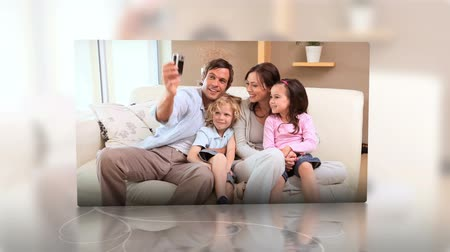 фотосъемка : Families at home montage presented on flipping screens