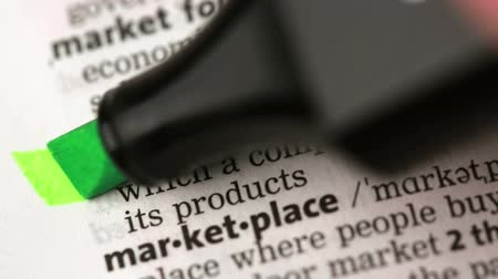 anlamı : Definition of marketing highlighted in the dictionary Stok Video
