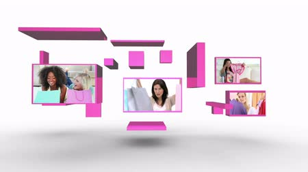 butik : Shopping with friends montage with copy space at end presented on pink flipping screens