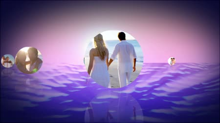 relação : Romantic montage of couples at the beach appearing over purple water in bubbles