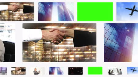 part of the frame : Montage of business people and situations with copy space on scrolling screen