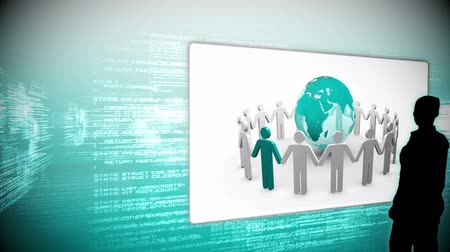 sociedade : Silhouettes watching global business community clips on blue data digital background Stock Footage