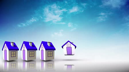 zęby : Purple roofed houses appearing in a line in blue sky background Wideo