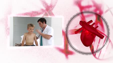 paediatrician : Montage of doctors with heart diagram on background and dna