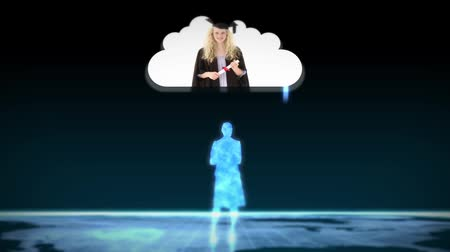 promoce : Digital figurines revealing graduate students into clouds on black background
