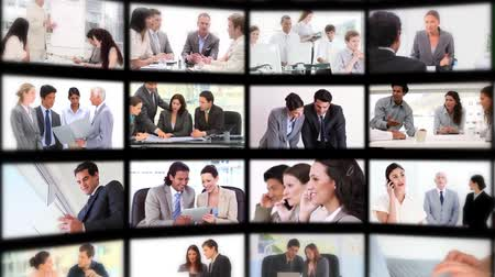 kolaj : Montage with different screens presenting people at work Stok Video