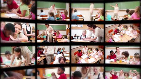 birincil : Montage of pupils with teacher studying in classroom