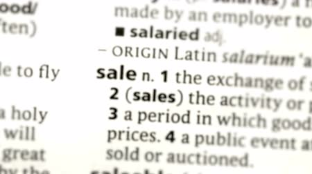 anlamı : Focus on sale in the dictionary Stok Video