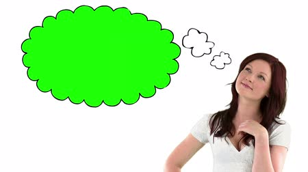 мысль : Woman with chroma key thought bubble on white background