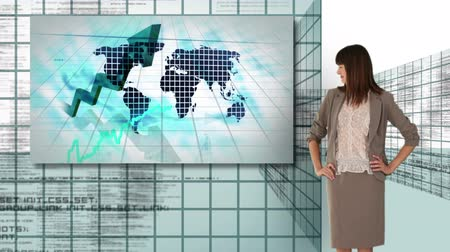 global : Businesswoman and man working with futuristic screen interfaces showing business growth