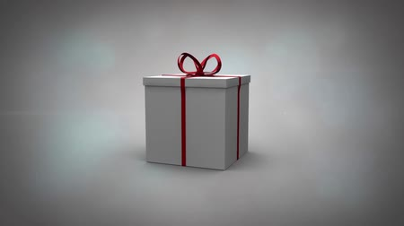 подарок : Gift 3d illustration revealing video of happy woman getting present from partner Стоковые видеозаписи