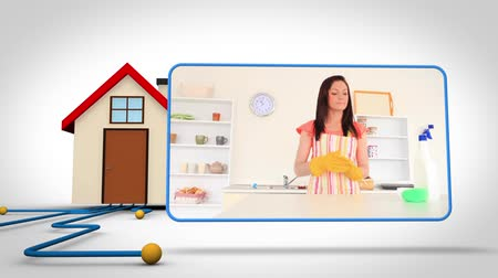 casas : Animation with 3d house illustration and video of woman cleaning the kitchen Vídeos