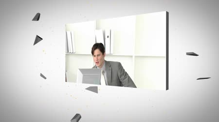 planı : Montage of architects and business people displayed on 3d screens