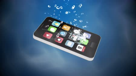 damlatma : Mobile phone falling in water on blue background