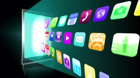 таблетка : Application icons beaming from tablet pc on black background