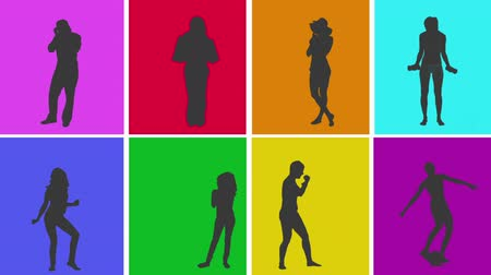 kopnutí : Animation of silhouettes of various people in colourful grid in lifestyle situations