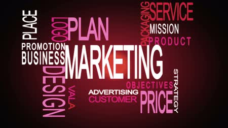 palavras : Montage of marketing business buzz word in pink and white