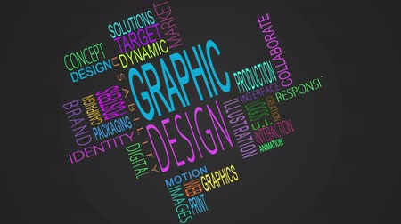 книгопечатание : Graphic design buzzwords montage on black background Стоковые видеозаписи