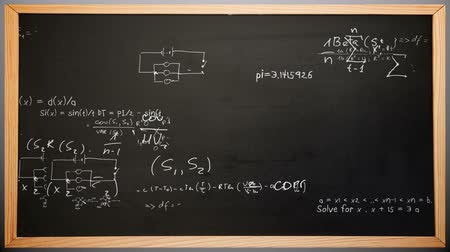tablica : Maths appearing on chalkboard animation