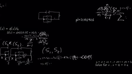 lousa : Maths equations appearing in chalk on board animation Vídeos