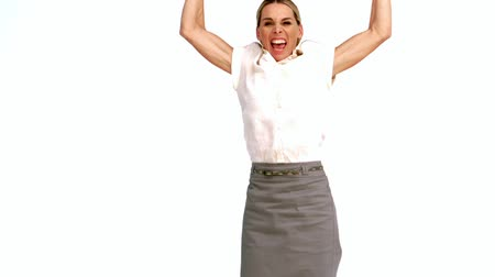 sampiyonlar : Excited businesswoman cheering and jumping in slow motion