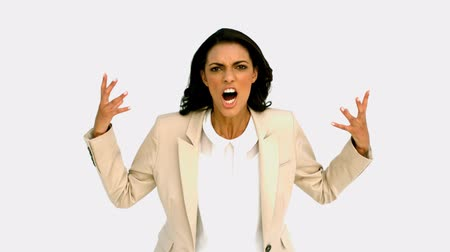 boss : Businesswoman shouting with rage in slow motion