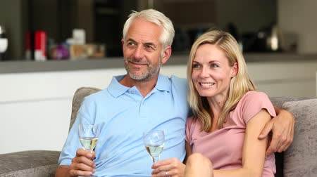 наслаждаться : Couple watching tv while holding white wine glass in the living room Стоковые видеозаписи