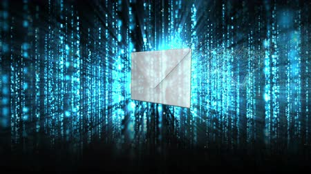 matris : Envelope opening to reveal red chroma key on futuristic blue and black background