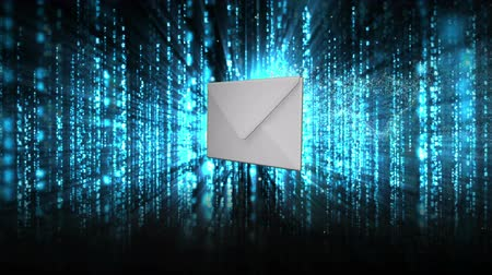 конверт : Envelope opening to reveal red warning sign on blue and black futuristic background