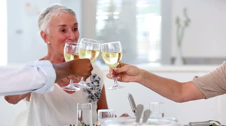 na zdraví : Old friends enjoying lunch together and raising their glasses at home in the kitchen Dostupné videozáznamy
