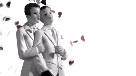 гей : Confetti falling on gay groom cake toppers in black and white in slow motion Стоковые видеозаписи
