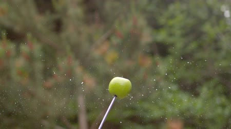 okçuluk : Arrow shooting through an apple in slow motion