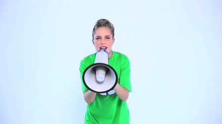 sembol : Environmental activist screaming in a megaphone on white background Stok Video
