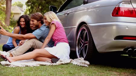 obrázky : Happy friends enjoying nature and take photos sir beside a car