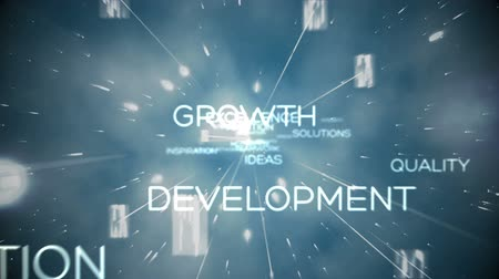 gelişme : Futuristic animation showing business terms floating together