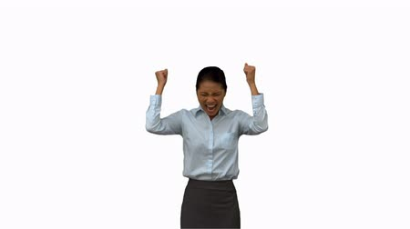 izgatott : Happy businesswoman gesturing on white screen in slow motion