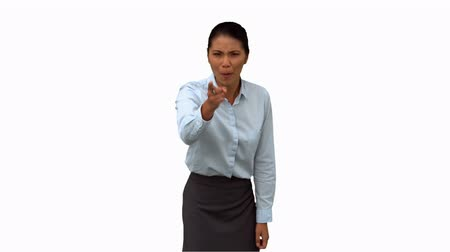 gritar : Angry businesswoman pointing on white screen in slow motion