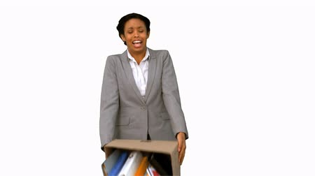desistir : Fired businesswoman dropping a box on white screen in slow motion Vídeos