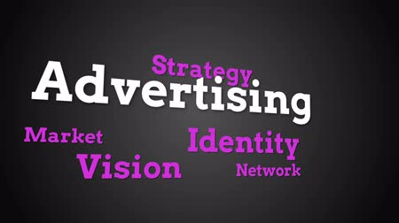 marketing : Animation of different marketing words appearing on black background Stock Footage