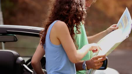 confuso : Smiling couple standing next to their car and reading map Vídeos