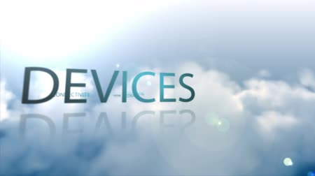 devices : Animation of technology terms floating over the clouds Stock Footage