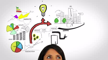 esquema : Colored animation showing business plan and a woman watching on white background