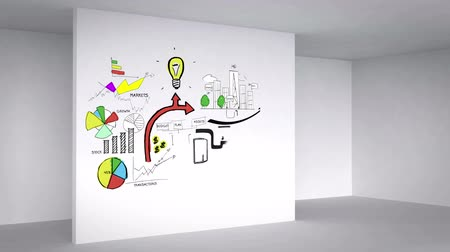 planos : Colored animation showing 3d room and business plan on white wall Stock Footage