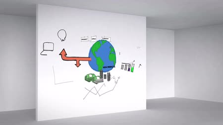 vývojový diagram : Colored animation showing business plan in 3d room with white walls Dostupné videozáznamy