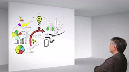 planları : Colored animation showing 3d room and business plan on white wall and man watching
