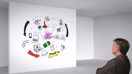 nápad : Colored animation showing 3d room and brain having ideas on white wall and man watching